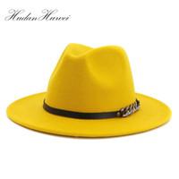 Wholesale gold flat brim hat resale online - Men Women Flat Brim Panama Style Wool Felt Jazz Fedora Hat Cap Gentleman Europe Formal Hat Yellow Floppy Trilby Party Hat Y200110