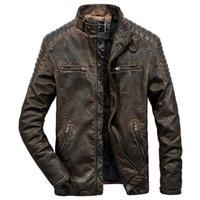 ingrosso giacche moto nero marrone-Giacca in vera pelle da uomo autentica per motociclismo Vintage marrone nera Parka Slim uomo inverno caldo cappotto Moto motociclista casual