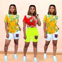 Wholesale t shirt dhl free resale online - DHL FREE Brand Tie Dye Tiger Head Women Two Piece Outfits Designer Tracksuit Summer T Shirt Shorts Sportswear Bodysuit Jogging Set C62407