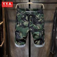 ingrosso jeans cerniera per uomo-Estate Camouflage denim dei pantaloni per il Gamba Loose Fit Pantaloni Stretch Pantaloncini cargo pantaloni di lunghezza del ginocchio Zipper Jeans