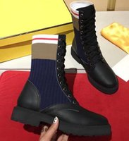 Wholesale branded long boots resale online - Hot Sell Fall Winter Popular Oreo Mid Long Stretch Women Sneakers Outsoor Casual Brand Shoes Warm Ladies Lace Socks Shoes Boots