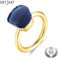 frauen blauen topas ehering großhandel-MetJakt Gold Farbe Blue Topaz Ring und natürlichen Achat solide 925 Sterling Silber Ringe für Frauen Hochzeit elegante Schmuck S18101002