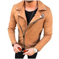 süet bomber ceketler toptan satış-Erkekler Hip Hop Ceket Streetwear Bombacı Süet Deri Ceket Kaban Yaka Fermuar İnce Biker Motosiklet Ceket Erkek Dış Giyim Casacos