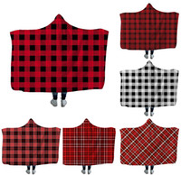 Wholesale snuggle blanket resale online - 150 CM Plaid Hooded Cloak Blankets Cape Kids Sherpa Swaddling Couch TV Fuzzy Snuggle Bedding children Home Textiles Lattice Blanket M1035