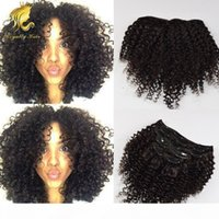 Wholesale human hair kinky curly clip ins for sale - Group buy Mongolian Virgin Hair African American Afro Kinky Curly Hair Clip In Human Hair Extensions Natural Black Clips Ins