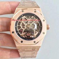 skelettart uhren großhandel-2 Stil Luxus Top Qualität Beste Fabrik 44mm Offshore 18k Rose Gold Skeleton Schweizer Mechanische Transparente Automatische Herrenuhr Uhren