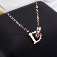 kilitli kolye toptan satış-Yeni D Mektup Kristal Annulus Birbirine Kolye Kadın Gül Altın Kolye Düğün Takı Arkadaşlar Severler Hediye