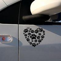 pegatinas de pata de vinilo al por mayor-Etiqueta engomada del coche Dog Paw Print en su corazón Calcomanías para automóviles Dog Paw Vinyl Car Body Decals Envío gratis