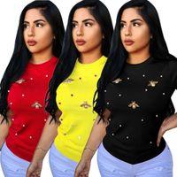 ingrosso nuova camicia elastica-P8291 modelli esplosione estate nuova elastica perline farfalla decorazione girocollo t-shirt da donna di grandi dimensioni femminile manica corta