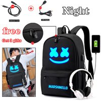 usb para chicas al por mayor-BPZMD DJ Trendy antirrobo Usb Men Laptop Mochila para Niñas Niños Adolescentes Niños Marshmello School Bag Women Cool Bookbag