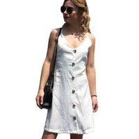 seins dames sexy fashion achat en gros de-2018 nouvelles femmes couleur unie robe mode dames sexy élingue v-cou sangle arrière robe simple boutonnage robe femme jupes occasionnels