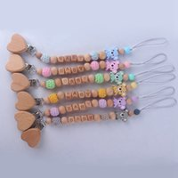 Wholesale lose toys resale online - Baby Wood Silicone Beads Pacifier Chain Clip BABY Letter Cute Cartoon Animal Charms Baby Teething Toys Anti Lost Holder