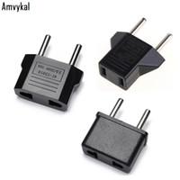 adaptadores elétricos universais venda por atacado-Amvykal Alta Qualidade EUA EUA Para Plug UE Adaptador de Viagem Carregador Adaptador Conversor Universal AC Power Plugue Tomada Elétrica