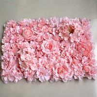 pasto de seda artificial al por mayor-40x60 cm Flor de seda artificial de lujo Paneles Flor blanca Decoración de la pared Telón de fondo floral para la fiesta de boda decoración, Panel de hierba