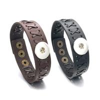 geschenke machen für männer großhandel-Mode Hand Made 137 Austauschbar Wirklich Echtes Leder Armband 18mm Druckknopf Bangle Charm Schmuck Für Frauen Männer Geschenk