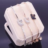 ingrosso cigno doni-2018 regalo di promozione limitata nel tempo versione coreana popolare del braccialetto di cristallo del cigno lusso di alta qualità adatto per i gioielli da donna