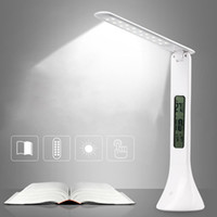 luz de escritorio al por mayor-USB LED Lámpara de escritorio Luz de mesa plegable ajustable con reloj despertador Temperatura Calendario Ambiente Estudio Luces luz nocturna