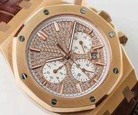 diamante suizo 18k al por mayor-La mejor marca de relojes de lujo Swiss 9100 Movimiento automático 28800 vph Caja de oro rosa de 18 quilates Diamante de zafiro Caja transparente de cristal Caja trasera transparente