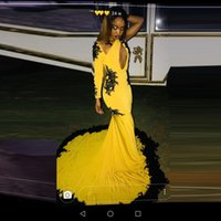Wholesale girl neck sexy floor for sale - Group buy Black Girls Yellow With Black Appliques Mermaid Prom Dresses Sexy Keyhole Neck One Shoulder Long Sleeve Sweep Train Party Evening Gowns