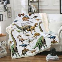 vellón de dinosaurio al por mayor-Dinosaurio Hoja manta de cama Sofá Cover manta del tiro de la siesta Como Mat comida campestre del recorrido Hogar para adultos de los niños en el pesebre de la cama Plano Cobertor