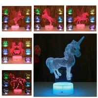 pequeñas lámparas de noche al por mayor-6 estilos Unicornio 3d Lámpara Nocturna Siete Colores Crack Base Pequeña Luz Acrílico fiesta Celebración Decoración del hogar luz regalo de los niños FFA2043