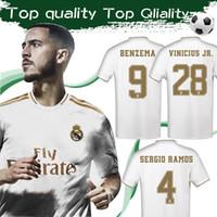 11 s white gold großhandel-# 23 HAZARD 2020 Real Madrid Fußball Jersey Home White 19/20 # 9 BENZEMA # 12 MARCELO Fußballtrikot # 11 BALE Fußballtrikots Größe S-4XL