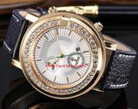 relojes de diamantes púrpura al por mayor-Amantes Hombres relojes de señora con diamantes oro púrpura azul lujo mujer reloj dorado Pulsera de acero inoxidable Relojes de pulsera reloj femenino