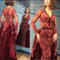 Wholesale sequin bead mermaid formal for sale - Burgundy Velvet Mermaid Prom Dresses Long Sleeves Deep V Neck Lace Beads Evening Formal Women Party Gowns