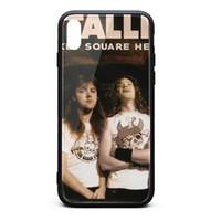 teléfonos del mercado al por mayor-Funda para iPhone X, funda para iPhone XS Metallica Market Square Heroes (en vivo) 1 9H Cubierta de vidrio templado Funda para teléfono de amortiguación de golpes de TPU