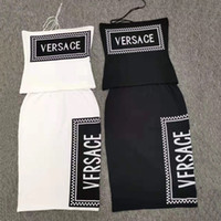sexy gekleidetes rohr großhandel-Frauen Deigner Luxus Kleid Anzüge Sexy Tube Top String + Overknee Langen Rock 2019 Sommer Neue Brief Stricken zweiteilige Rock Anzug