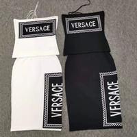 kadın tüpleri toptan satış-Kadın Deigner Lüks Elbise Takım Elbise Seksi Tüp Üst Dize + Diz Üzerinde Uzun Etek 2019 Yaz Yeni Mektup Örgü Iki parçalı Etek Suit