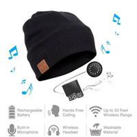 Wholesale smart scarf resale online - Wireless Bluetooth Beanie Knitted Plus Velvet Winter Running Hat Headset Mic Headphone Music Headbands Sport Smart Cap Y191112