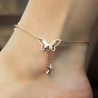 ingrosso moda in metallo-Trend Fashion Simple Hollow Butterfly Double Drill Anklet Leisure Wild Lady Temperament Anklet Nuova cavigliera in metallo con nappa