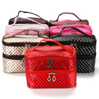 Wholesale breast milk storage bottles resale online - Beautiful Fashion Cosmetic Bags Double Layer Dot Prints Handbag Women Toiletry Pouch For Travel Durable qc E1