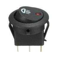 interruptores led iluminados al por mayor-5PCS de coches Van Dash interruptor redondo 12V 20A LED iluminado luz de niebla del eje de balancín de encendido / apagado