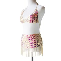 ingrosso catene di danza del ventre-Belly Dance Hollow Paillettes Catene Reggiseno Mini Skirt Costume per Nightclub Party Belly Dance