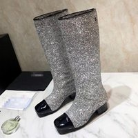 Wholesale gold glitter low heels resale online - quality women Knee Boots Martin Boot low heels Winter Fashion High Boot Thick heel bling Sequin Girl Boots Las botas brands