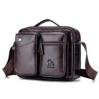 vintage tuval deri haberci çantası toptan satış-Erkek Messenger Bag 15.6 İnç Su geçirmez Vintage Gerçek Deri Tuval Çanta Büyük Satchel Omuz Çantası Deri Bilgisayar Laptop Çanta