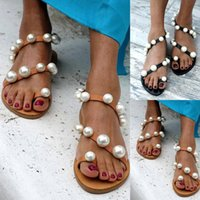 Wholesale open string man for sale - Group buy Bohemia style Flats Sandals Retro Women String Beading Crystal Anti Slip Toe Post Pearl Stiching Roman Beach Shoes Cross Strap