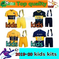 chicos menores al por mayor-2019 2020 Boca Juniors kids kit Uniforme infantil local y visitante 19 20 Boca Juniors # 16 DE ROSSI # 10 TEVEZ # 7 PAVON kits de camiseta de fútbol para niños
