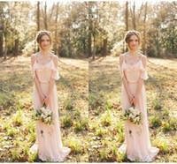 vestido de dama de honra no espartilho de cetim venda por atacado-Fengyudress dama de honra Vestidos Spaghetti comprimento de piso-line Chiffon do vestido de casamento de hóspedes simples barato ocasião especial Vestido