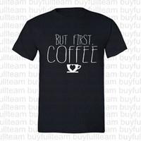 camisa de café divertida al por mayor-Pero primer café camiseta del entrenamiento de la yoga del corazón Taza divertida para hombre Negro de manga corta manera de las tapas de cuello redondo T Shirts Tamaño S M L XL 2XL 3XL