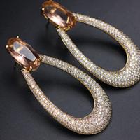 büyük taş küpeler toptan satış-Moda Lüks 3A Kübik Zirkonya Açacağı büyük Elips Saplama Küpe Kadınlar için kristal Cam taş Altın renk büyük Küpe Takı