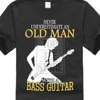 Wholesale red color guitars for sale - Group buy Fashion Cotton T Shirt Short Funny Crew Neck Mens Never Underestimate An Old Man Bass Guitar T Shirt