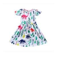 ingrosso vendita al dettaglio animale-Vendita al dettaglio Le ragazze vestono Summer Animal Cartoon Cotton Casual A-line Princess Dress bambina abiti per bambini abiti firmati ragazze Bambini boutique