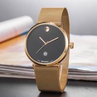 relógio de aço cor do homem venda por atacado-2 cor amantes relógio casal relógio de pulso das mulheres dos homens relógios pulseira de aço inoxidável calendário pulseira relogio masculino reloj mujer