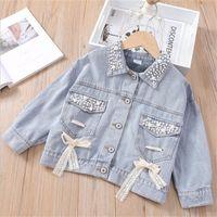 Wholesale denim jackets for kids resale online - 1 years Girls Denim Jacket Fashion Baby Lapel Outwear Coat for Children Tops Clothes New Kids Spring Jackets Coat