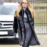 kadın ceketi yaka kemeri toptan satış-Kemer Tam Kollu Orta Kadınlar Mandarin Yaka TOPFUR 2019 Kış Deri Ceket Gerçek Kürk Kadınlar Doğal Vizon Coat