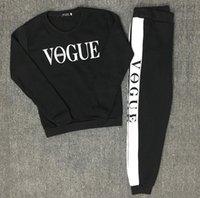 vogue sweatshirt toptan satış-Kadın Eşofman Sonbahar Kış Yeni 2 Parça Set Kadın VOGUE Kazak + Pantolon Takım Eşofman Uzun Kollu Spor Kıyafet