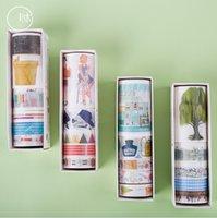 ingrosso nastro di carta giapponese-10 set / lotto DIY Japanese Paper Young Time Series Tape Cartoon Bella ragazza Washi Tape / adesivi nastro adesivo 2016